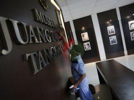 Petugas membersihakan Museum Juang Taruna Tangerang, Banten, Kamis (2/7/2020)